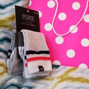 New 2 pair PINK crew socks
